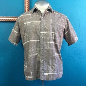 Men's Hawaiian Aloha brown reverse print shirt, XL